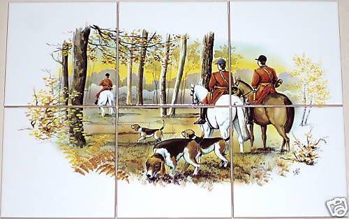 "Equestrian Ceramic Tile Mural 6pc 4.25"" Tiles Horse Fox Hunt and Hound Scene"