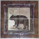 """The Bear Ceramic Tile Mural 4 pc of 6"""" Alaskan Bear kiln Fired"""