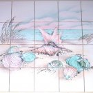 "Star Fish Sea  Oyster Shells Ceramic Tile Mural 4.25"" 20 pcs Kiln Fired Beach"