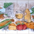 CLOSEOUT Wine Ceramic Tile Mural Backsplash White Wine Corn Tomato Country 12 pc of 4.25