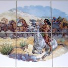 "Stagecoach Ceramic Tile Mural Western Horses 6pcs 4.25"" Backsplash Kiln Fired"