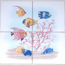 "Blue Fish Ceramic Tile Mural 4pcs 4.25"" kiln fired back splash tiles"
