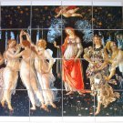 La Primavera di Sandro Botticelli Ceramic Tile Mural Kiln Fired Back splash 24pc