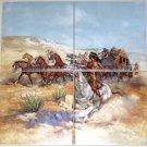 "Remington Stage Coach Ceramic Tile Mural 4 of 6"" Western Horse Backsplash"