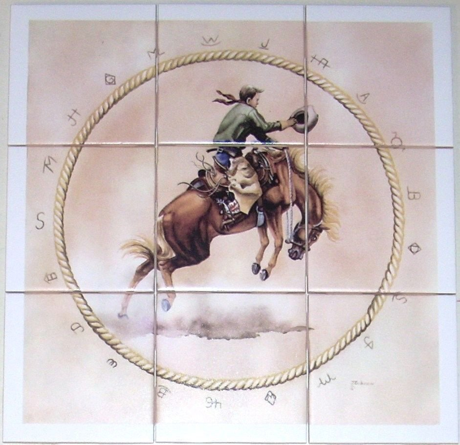 "Bronco Rider Ceramic Tile Mural 9pcs 4.25"" Kiln Fired Western Rodeo Horse Decor"