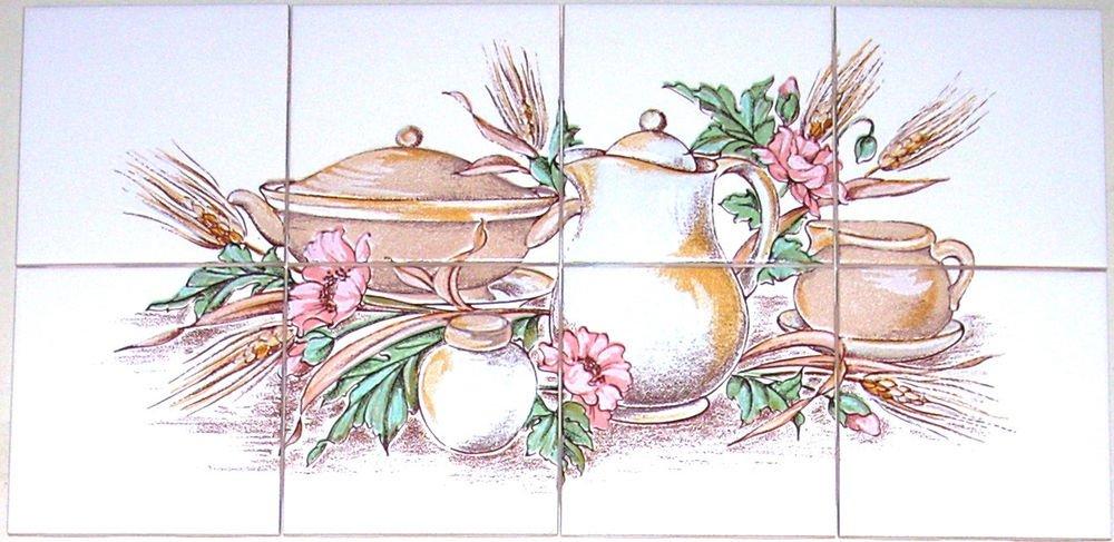 "closeout Kitchen Ceramic Tile Mural Wheat Kiln Fired Back Splash 6pcs of 4.25"""