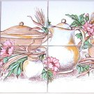 closeout Kitchen Ceramic Tile Mural Wheat Kiln Fired Back Splash 6pcs of 4.25""
