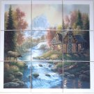 "Closeout Elk Cabin Ceramic Tile Mural Back Splash 9pcs 4.25"" Woods Stream Kiln Fired"