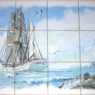 Ship Ceramic Tile Mural Goelette Sailing Light House Backsplash 12pcs Kiln Fired