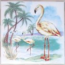 "Flamingo Ceramic Tile Accent Kiln Fired Palms Ocean 4.25"" Tropical Bird Pink"