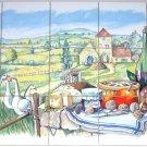 "Closeout Ducks Wine Countryside 15  pcs 4.25"" Kiln Fired Back Splash Decor"
