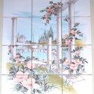 "Closeout Garden Columns Ceramic Tile Mural Peach Flower Kiln Fired Back splash 12pc 4.25"""