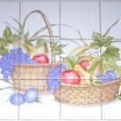 "CLOSEOUT Pale Colors Fruit Basket Ceramic Tile Back Splash 12pc 4.25"" x 4.25"" Kiln Fired"