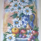 "Daisy Blue Delft Ceramic Tile Mural BackSplash 6pc of 6"" Kiln Fired Decor"