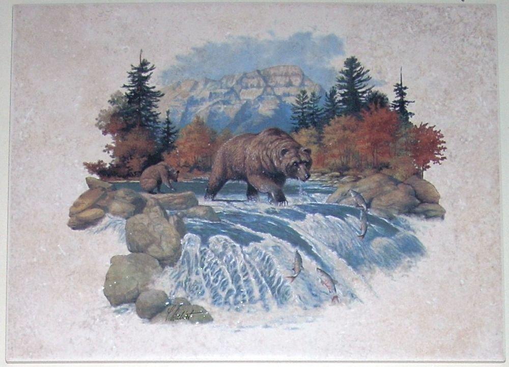 BEAR Ceramic Tile for Wall or Floor Back Splash Decor 12 inch by 9 inch