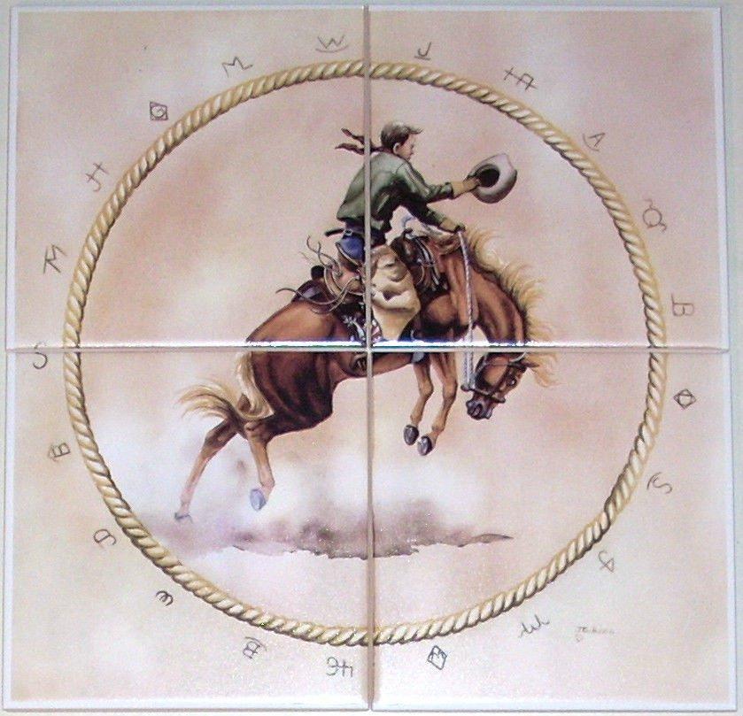"Bronco Rider Horse Ceramic Tile Mural 4 of 6"" Kiln Fired Cowboy Western"