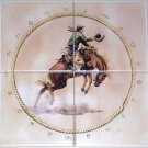 "Bronco Rider Horse Ceramic Tile Mural 4 of 6"" Kiln Fired Cowboy Western"