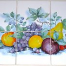"Fruit Ceramic Tile Mural Backsplash Grapes lemons 6 pieces of 4.25"" Backsplash"