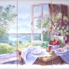 """Morning Window Kiln Fired 6 of 6"""" kiln fired Ceramic Tile Mural"""