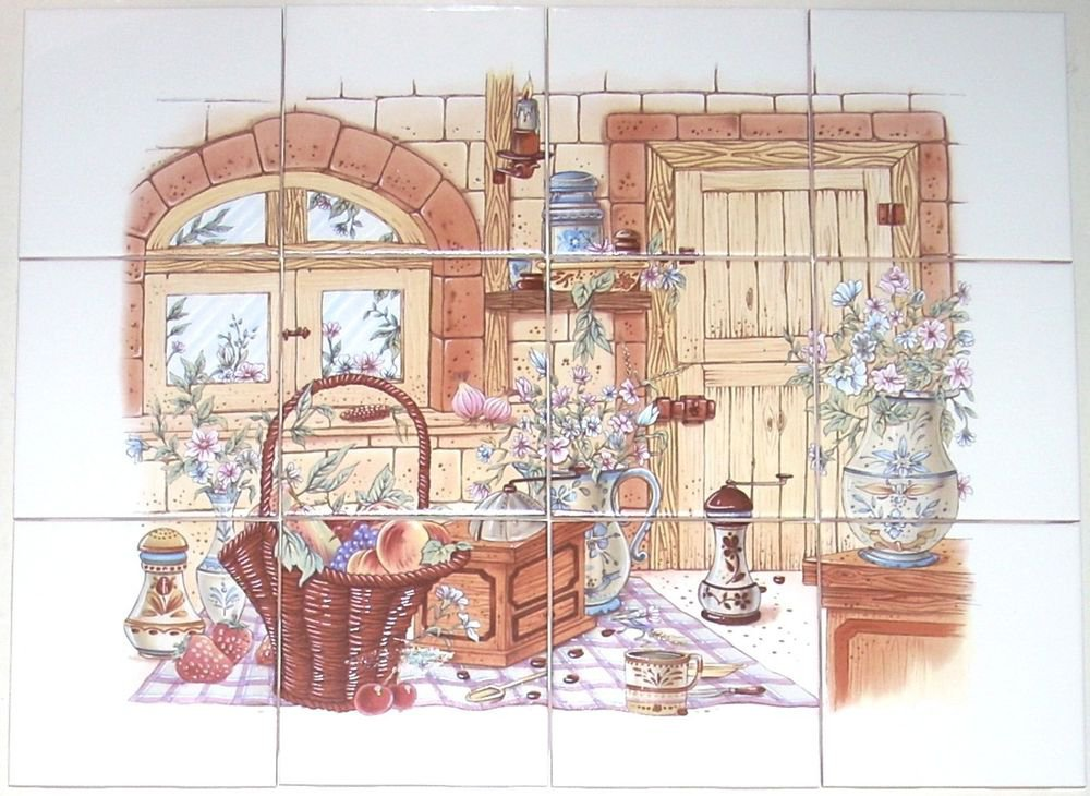 "Old Kitchen Ceramic Tile Biscuit color Kiln Fired 4.25"" 12 piece Mural Decor"