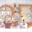 "Old Kitchen Ceramic Tile Biscuit color Kiln Fired 4.25"" 12 piece Mural Decor"