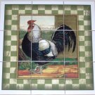 Rooster Ceramic Tile Mural Black and White Champion 9pcs Backsplash