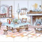 "Closeout Kitchen with Hearth Ceramic Tile Mural 15 pcs 4.25"" Kiln Fired Back Splash Decor"