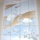 "White Heron Bird Ceramic Tile Mural 24 pcs 4.25"" Kiln Fired Back Splash"
