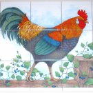"Closeout Rooster Ceramic Tile Mural 15pcs. 4.25"" x 4.25"""