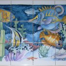 "Tropical Fish Colorful Kiln fired Ceramic Tile Mural 12 pcs 4.25"""