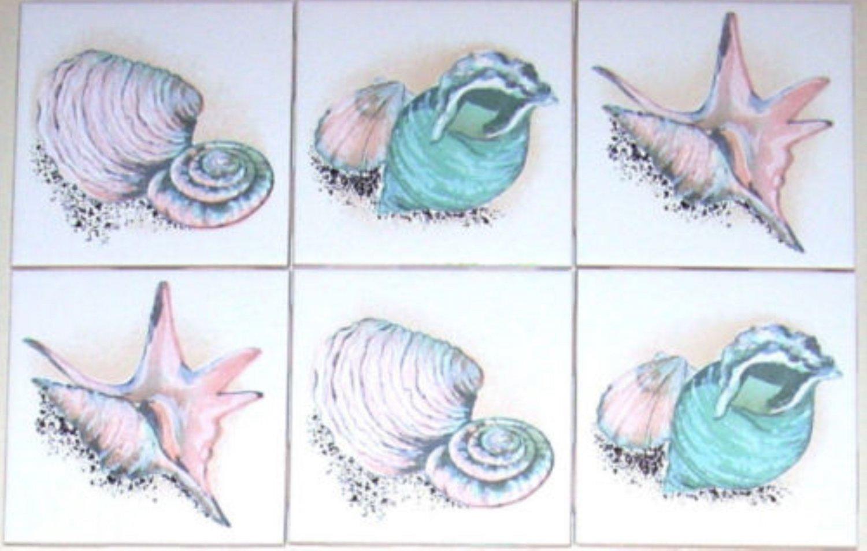 "Sea Shell Clam Conch Ceramic Tile Accents 6 of 4.25"" Kiln Fired Decor Backsplash"