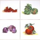 Vegetable Ceramic Tile Tomato Onion Peppers Kiln fired set of 4 / 4.25""