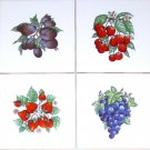 "Bountiful Fruit Accent Tiles 4 of 4.25"" Kiln Fired Decor Back Splash set of 4"