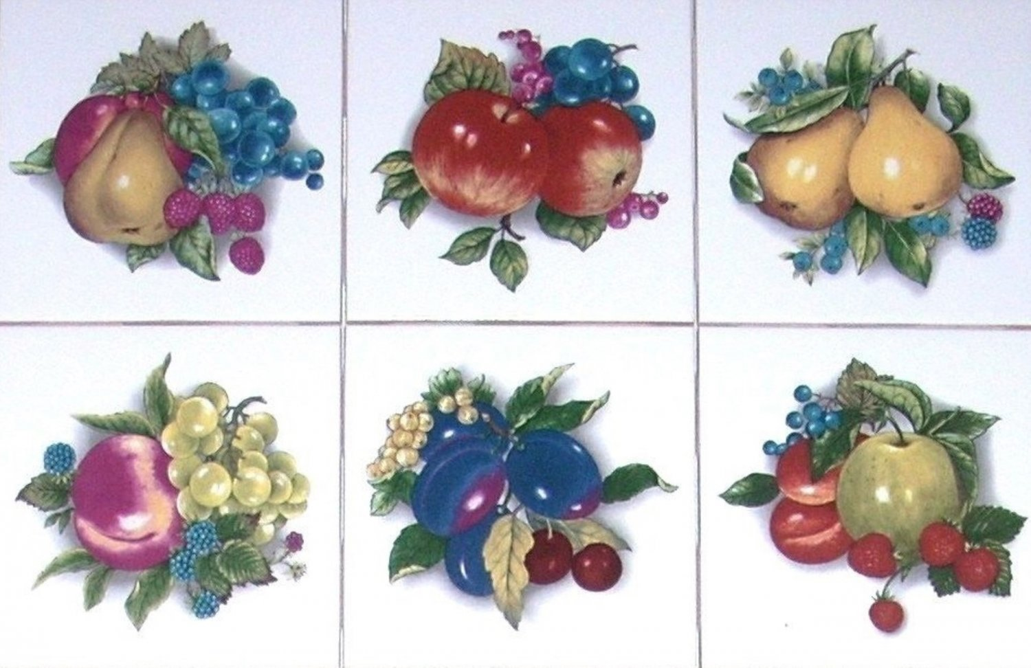 """Fruit Ceramic Tiles set of 6 of 4.25"""" Beautiful Cluster of Assorted Kiln Fired"""