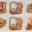 "Old Hearth Ceramic Tile Biscuit color Kiln Fired 4.25"" 6 Piece Accents Decor"