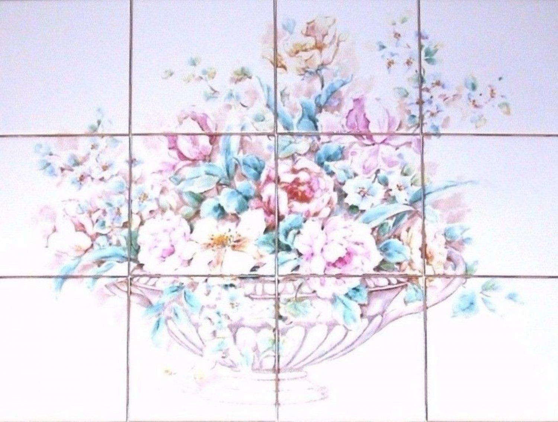 Closeout Rose And Peonies Ceramic Tile Mural 12 Pcs 4 25