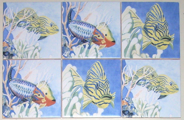 "Tropical Fish Ceramic Tile Accents 6 / 4.25"" Kiln Fired Back Splash Decor"