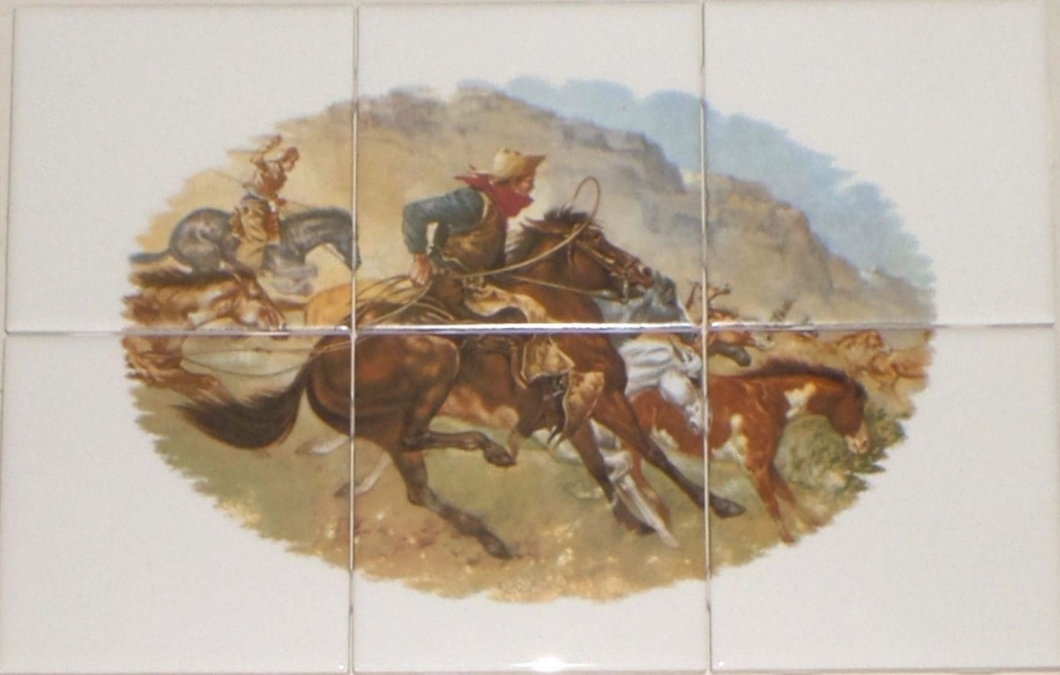 Remington Horse Rustlers Ceramic Tile Mural 6 Of 4 25