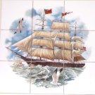 Ship Ceramic Tile Mural Atlantic Mermaid 9pc 4.25 Ocean Backsplash Kiln Fired
