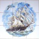 Nautical Ship Ceramic Tile Mural Pacific Monsoon 9pc 4.25 Ocean Backsplash Kiln Fired