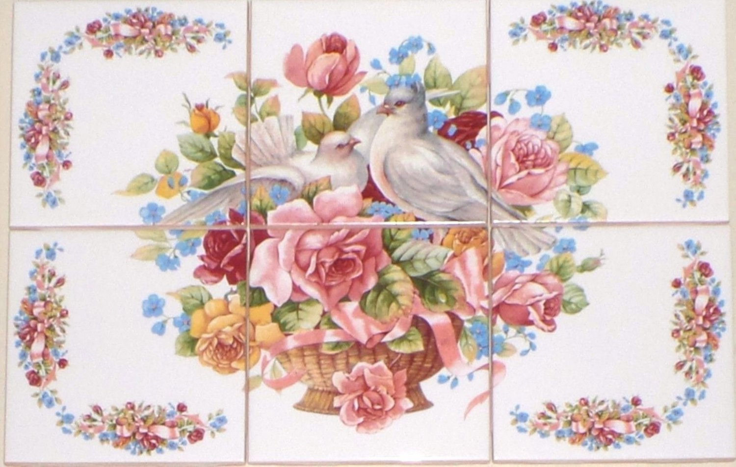 Dove Bird Ceramic Tile Mural 6pcs 4 25 Quot Pink Rose Ribbon