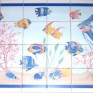 "Tropical Blue Fish Ceramic Tile Mural Coral Large Backsplash 24pcs 4.25"" Decor"