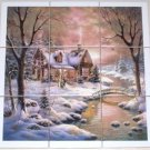 "Closeout Winter Ceramic Tile Mural Woods Cabin Stream 9 of 4.25"" Backsplash Kiln Fired"