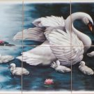 "Swan with Signets 6 of 6"" Mural Ceramic Tile Mural Kiln Fired Back Splash"