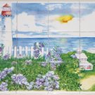 "Light House Ceramic Tile Mural 12pcs 4.25"" x 4.25"" Kiln Fired Back Splash Decor"