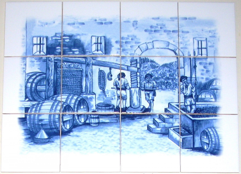 Delft design ceramic tile mural 12pcs grapes blue for Ceramic mural making