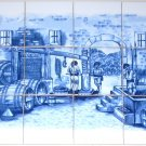 "Delft Design Ceramic Tile Mural 12pcs 4.25"" Grapes Blue Kiln Fired Decor Back Splash"