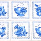 "Blue Delft Fruit with border Ceramic Tile Mural 6pcs 4.25"" Kiln Fired Decor"