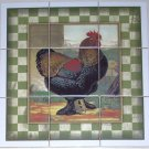 "Rooster Ceramic Tile Mural Talbot 9pcs 4.25"" Chicken Barnyard Kiln Fired Green"