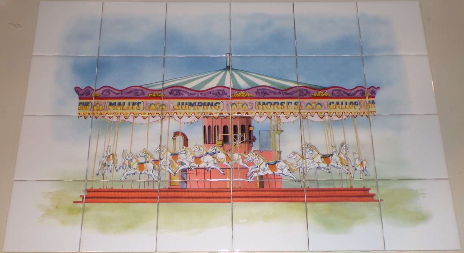 "Carousel Ceramic Tile Mural Large Kiln Fired Back Splash 24 pcs 4.25""x 4.25"""
